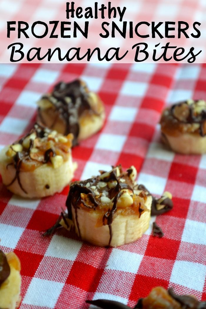 Frozen Snickers Banana Bites.  Made with only healthy ingredients.