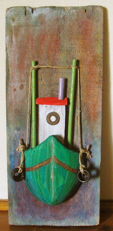 driftwood boat idee voor jongenskamer of huisje aan het water ?