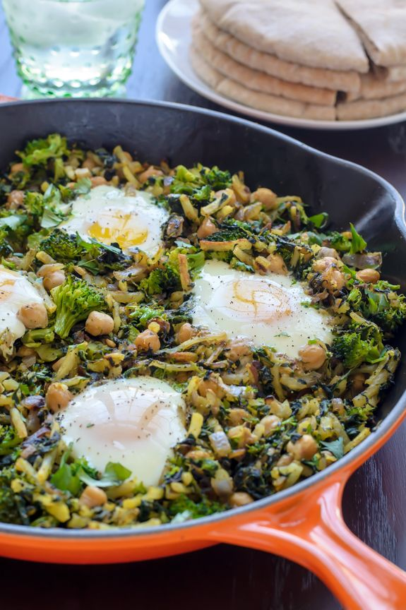 One Skillet Chickpea Hash with Greens and Curry @WellPlated