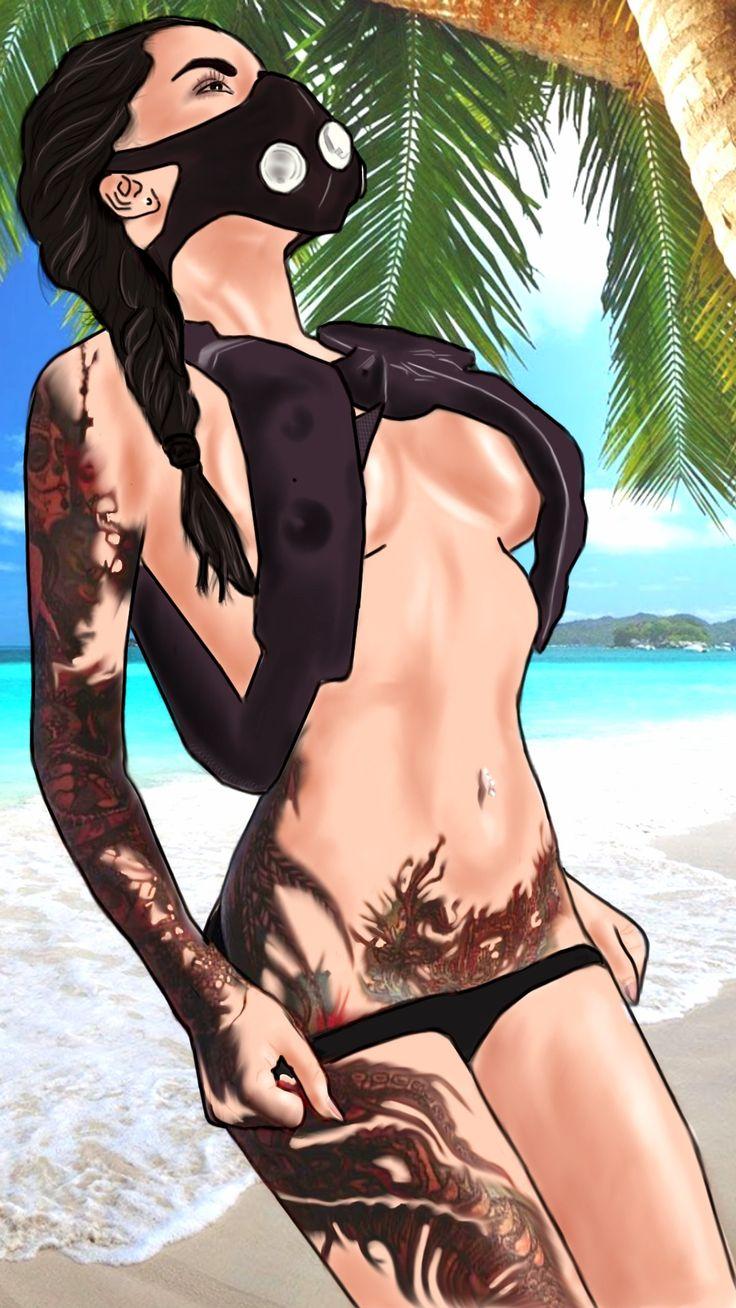 Мотивация , маска для бега , девушка на пляже
