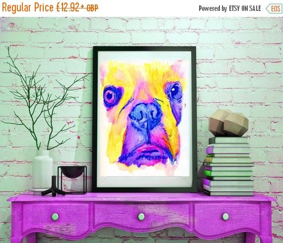 CYBER MONDAY SALE French Bulldog painting, French Bulldog watercolor,candy floss pink yellow,frenchie gift for french… #dogs #etsy #art