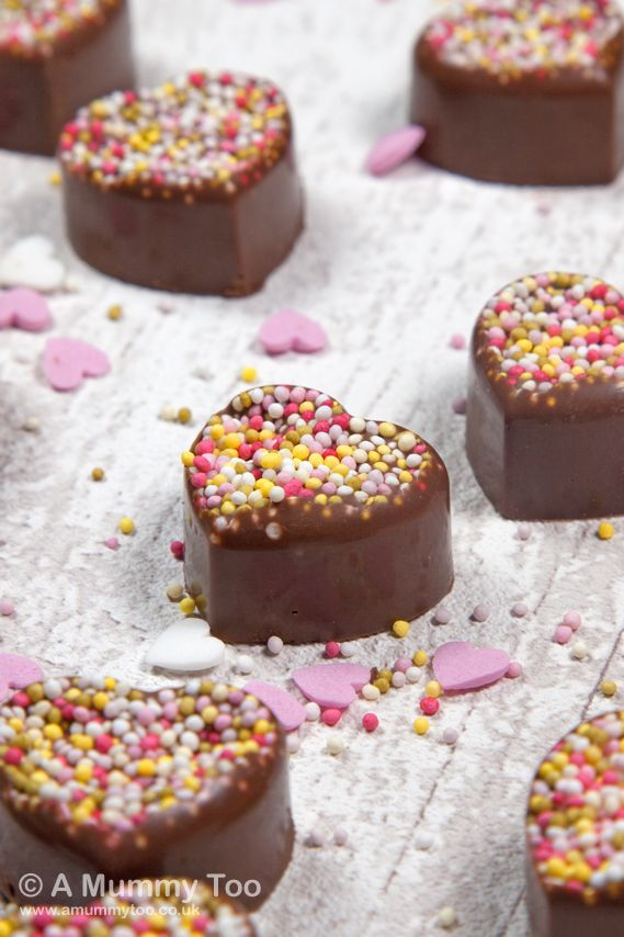 Great for Valentine's Day! ---> Secretly simply chocolate sprinkle hearts - made in silicone moulds with just two ingredients.