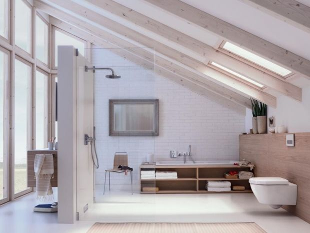 Open plan white woods bathroom inspiration