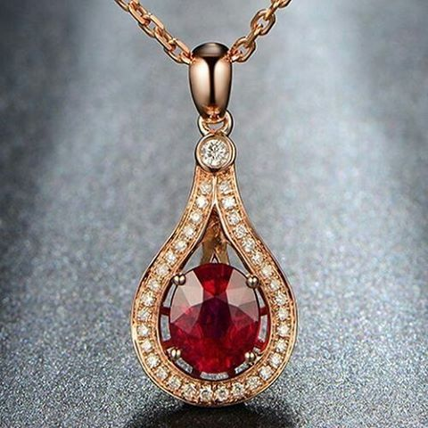 "32 Likes, 3 Comments - Suma Boutique (@sumagemboutique) on Instagram: ""1.45 Carats Natural Red Tourmaline with Diamond 14K Solid Rose Gold Fine Pendant  Main Stone :…"""