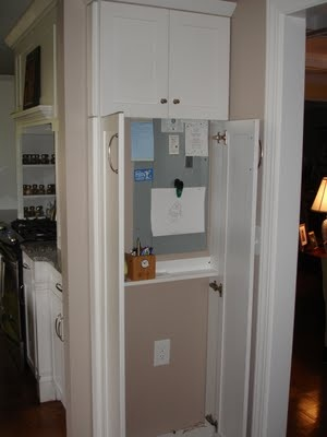 Narrow Cabinet In Kitchen Holds Electrical Box That Is