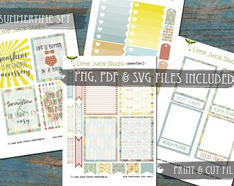 Summertime Set-Printable Stickers-Digital Download-Beach Summer Stickers-Word Stickers-Project Life-Scrapbooking-Print & Cut-PNG/SVG files
