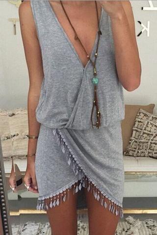 Irregular Sexy Deep V-Neck Dress