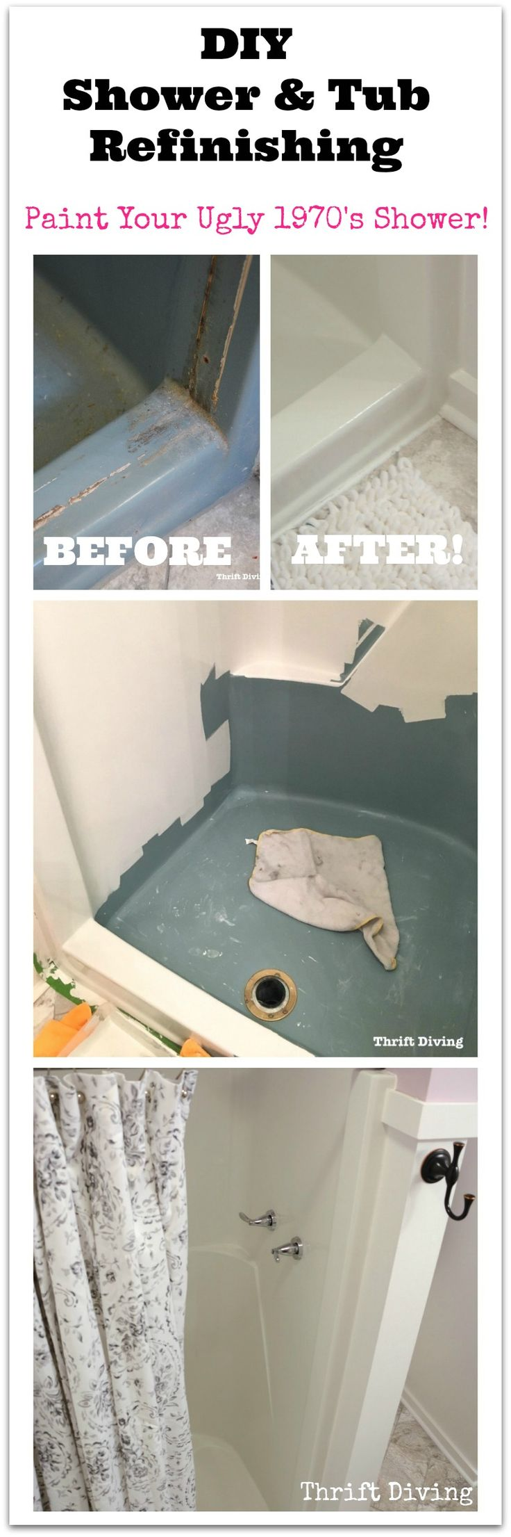DIY shower and tub refinishing isn't as scary as you may think! My old 1970's turquoise shower stall needed a facelift. Replacing the shower would have cost me $6,000. But for much less, I painted my ugly shower stall using a BathWorks bathtub refinishing kit. See how I did it, and watch my complete 12-minutes YouTube tutorial!