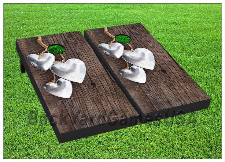 WEDDING Custom Cornhole Boards BEANBAG TOSS GAME W Bags Outdoor Event
