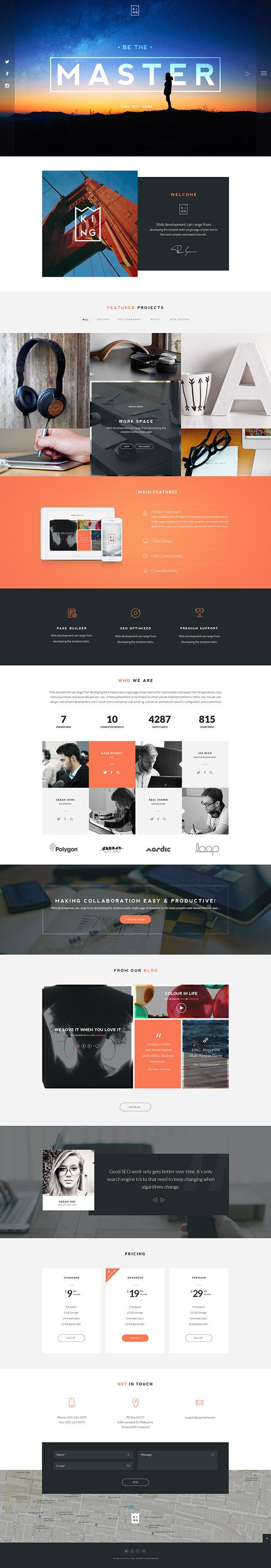 KING - One Page PSD Template (Redesign) on Behance