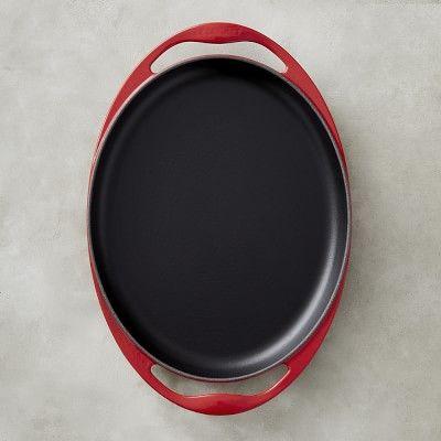 """Le Creuset Cast-Iron Sizzle Platter, 12 1/4"""", Red"""