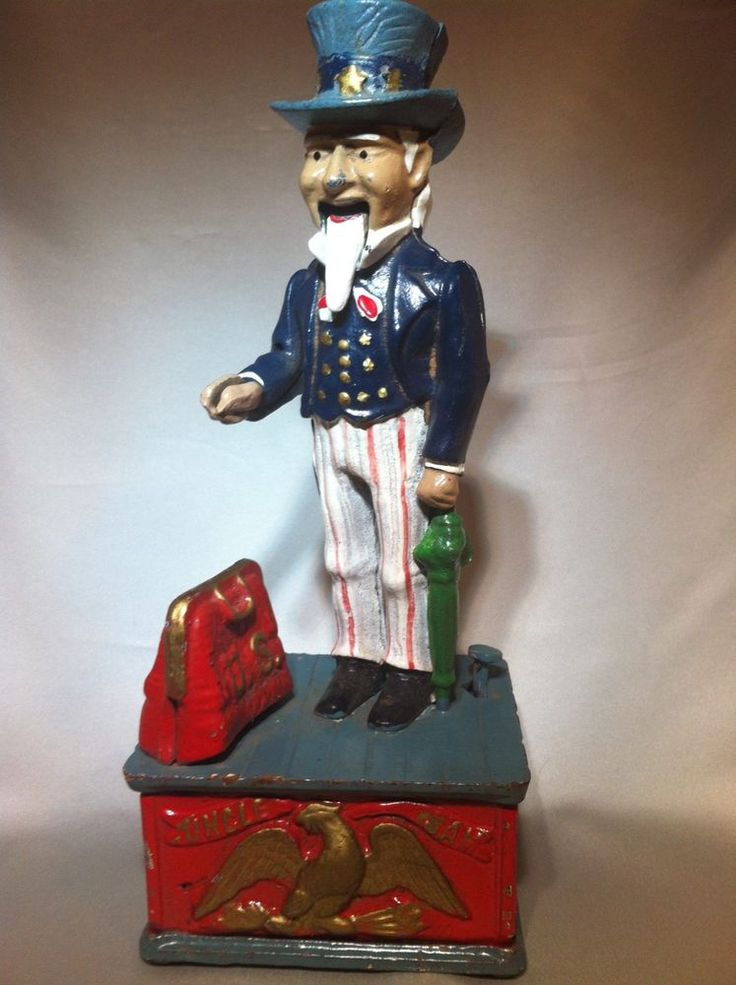 Vintage Collectible Uncle Sam Cast Iron Bank Mechanical Reproduction  $19.99