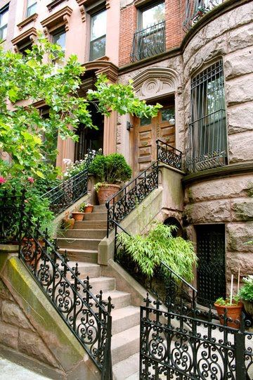 This is so beautiful.New York Cities, Dreams, Curb Appeal, Wrought Iron, House, New York City, Nyc Brownstone, Newyork, Design