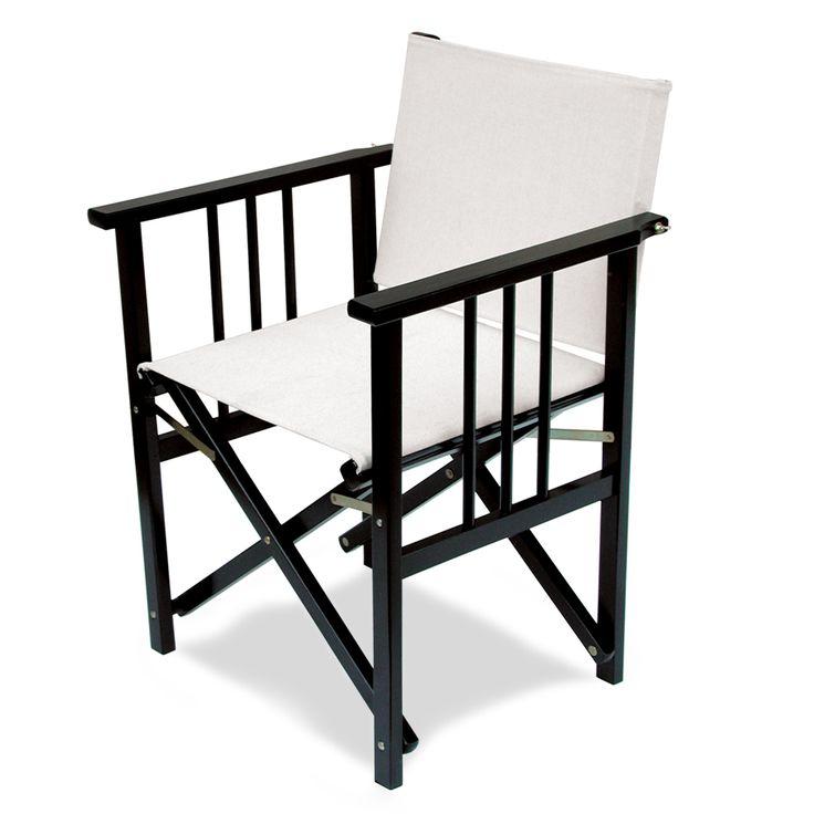 Regista 110. Sedia da regista pieghevole, con robusta struttura in legno di faggio dotata di braccioli.  La seduta e lo schienale possono essere realizzati in cotone. La scelta dei colori è vasta. Su richiesta è possibile ordinare la sedia con tessuto di cotone imbottito.