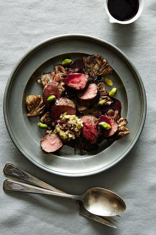 Roasted Thyme Miso Lamb Medallions with Sauteed Mushrooms, Pistachios and Blackberry Vinegar Reduction