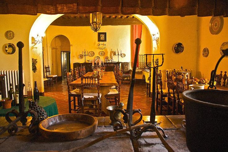 Dining room from inside the fireplace - Villa Corsano Pet Friendly Tuscan Vacation Rental -  - rentals