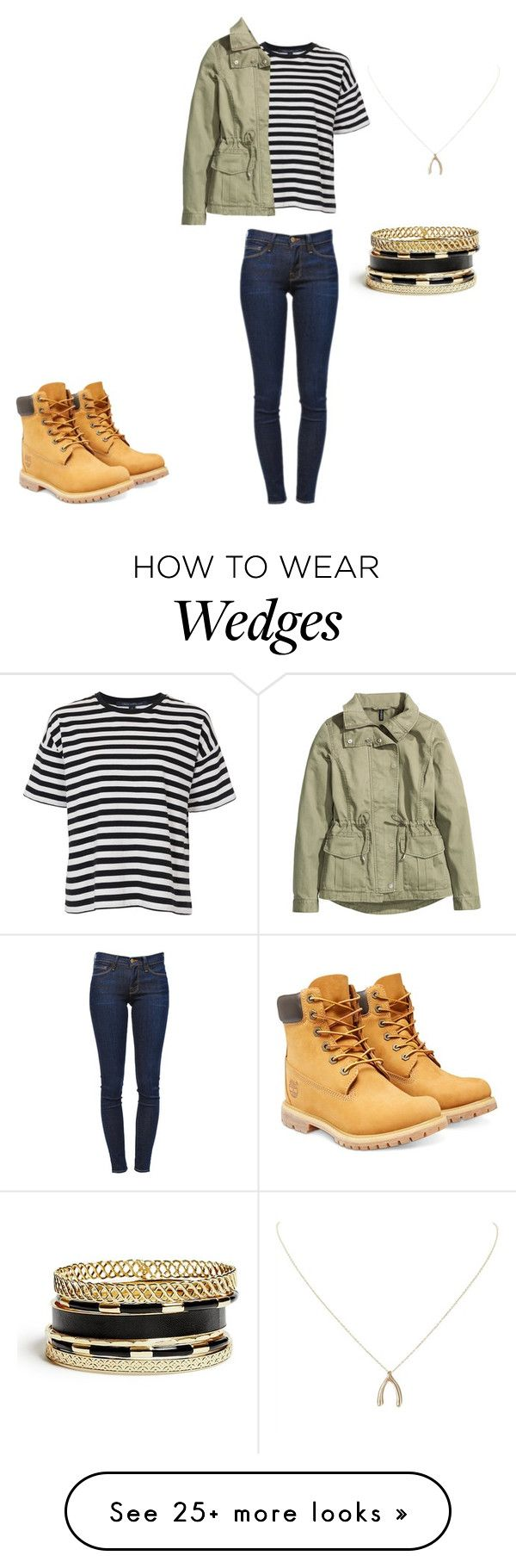 """""""Outfit"""" by abigailthelusmond on Polyvore featuring Timberland, French Connection, H&M, Frame Denim, GUESS and Humble Chic"""