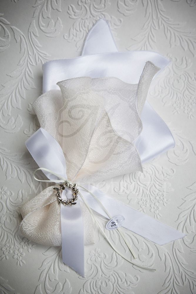 Satin and taffeta fabric wedding favor