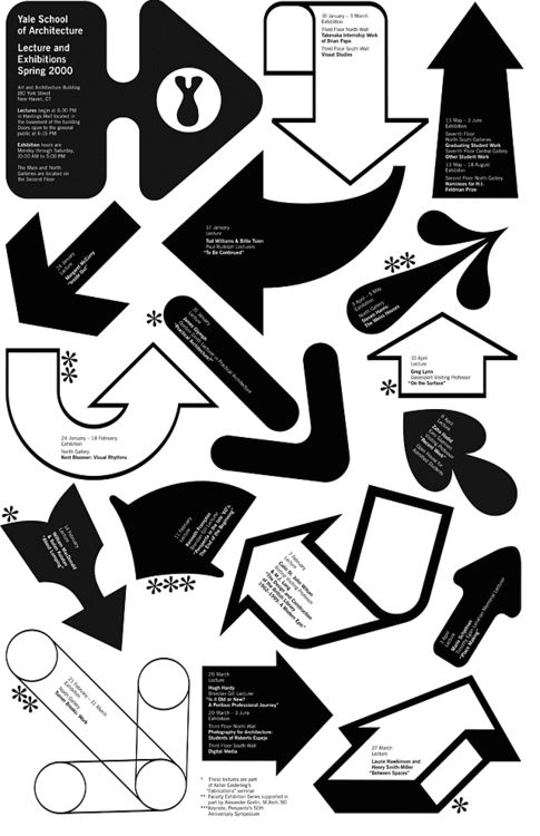 Yale School of Architecture: Lecture and ExhibitionsPoster, Spring 2000Design: Michael Bierut