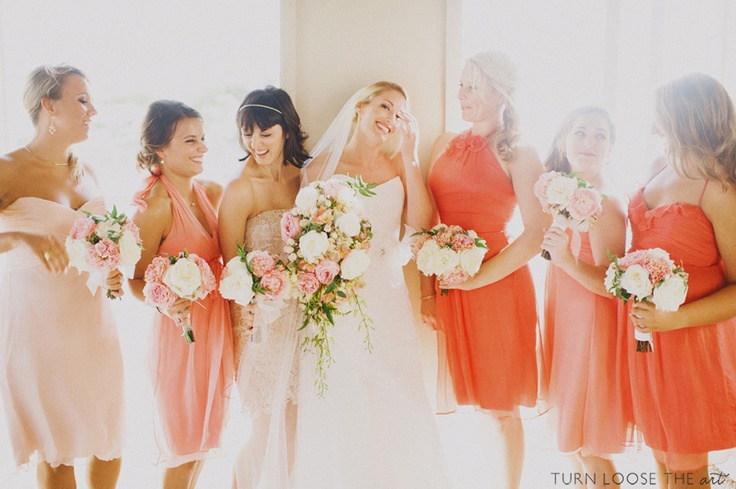 Salmon bridesmaid dresses on Long Beach Island - Photography by Turn Loose The Art / turnloosetheart.com