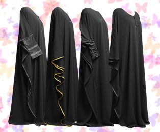 Butterfly Abayas - sizing tips.      I really like the one all the way on the right, but maybe a bit shorter?  Anyways, cute and flowy!
