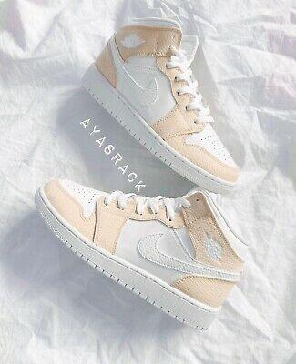 Custom Paint Light Beige air jordan 1 mid   Jordan shoes girls ...