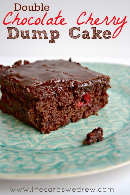 Sinful Double Chocolate Cherry Dump Cake | This chocolate cake recipe is SO good. You'll especially love the cherry pie filling in it!