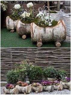 Pflanzkübel aus Birkenstämmen #garten #dekoration
