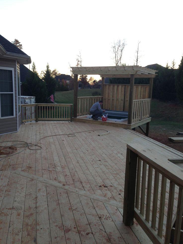 Back deck // pergola // hottub -- via keepinitthrifty on Instagram