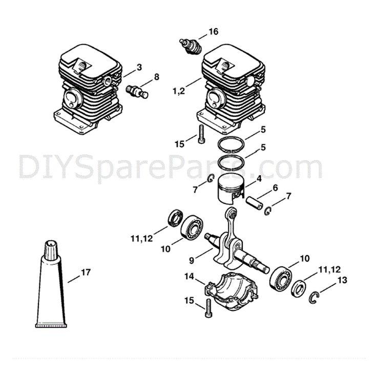 Stihl MS 180 Chainsaw (MS180C-B D) Parts Diagram, Cylinder