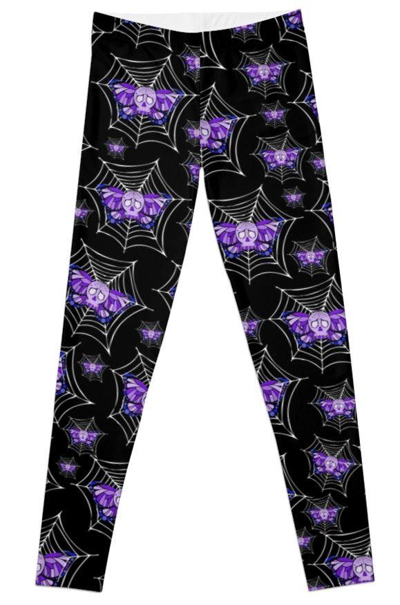 #Purple #Butterfly #Skull #Web #Leggings Artwork by Toni Lee from http://www.tearingcookie.com/ Design work by Mannzie