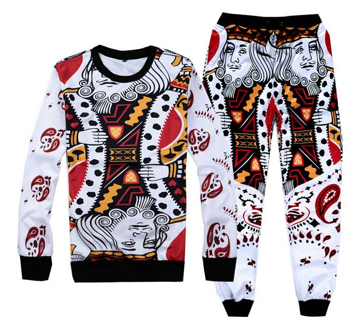 Hip hop felpe e pantaloni divertente carte da gioco abiti 3d da jogging pantaloni felpa 2 pezzo imposta uomini/donne sport pantaloni sportivi(China (Mainland))