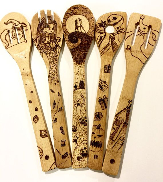Nightmare Before Christmas Woodburned spoons. Custom, personalized, wood burned bamboo spoons. Free shipping. Pumpkin, sally halloween