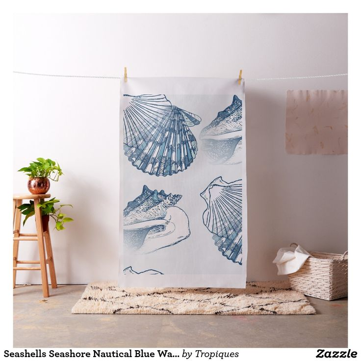 Tenture bleue nautique de bord de la mer de tissu