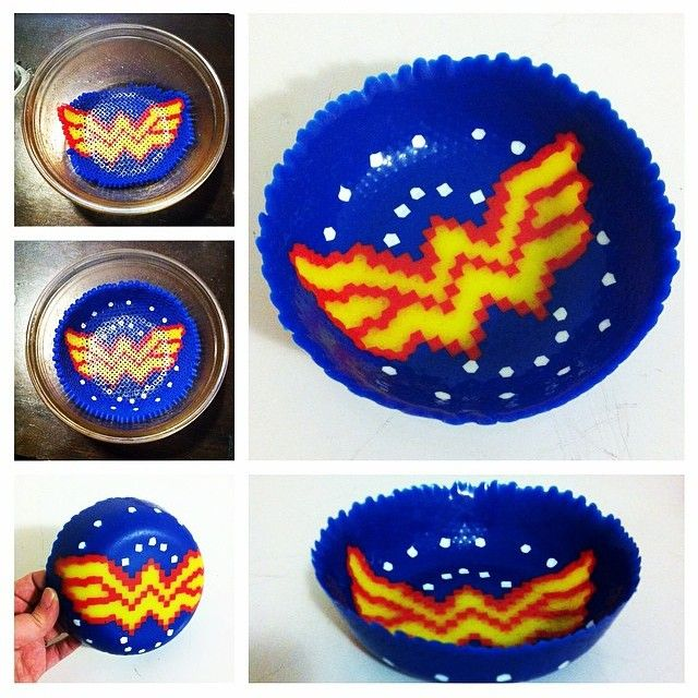 Wonder Woman inspired perler fuse bead bowl by thenerdyperler - need need need to make this