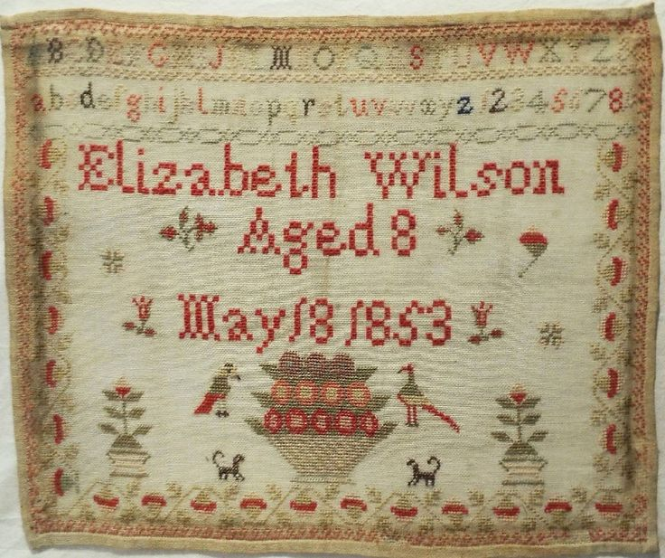 EARLY 19TH CENTURY SAMPLER BY ELIZABETH WILSON AGED 8 - 1853, eBay, cockleheart