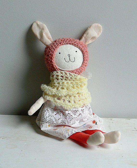 Stuffed Bunny Toy Heirloom Bunny Doll Vintage fabric doll
