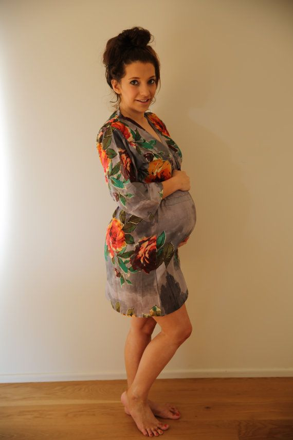 New String Robe Gray Knee Length Maternity Hospital by silkandmore