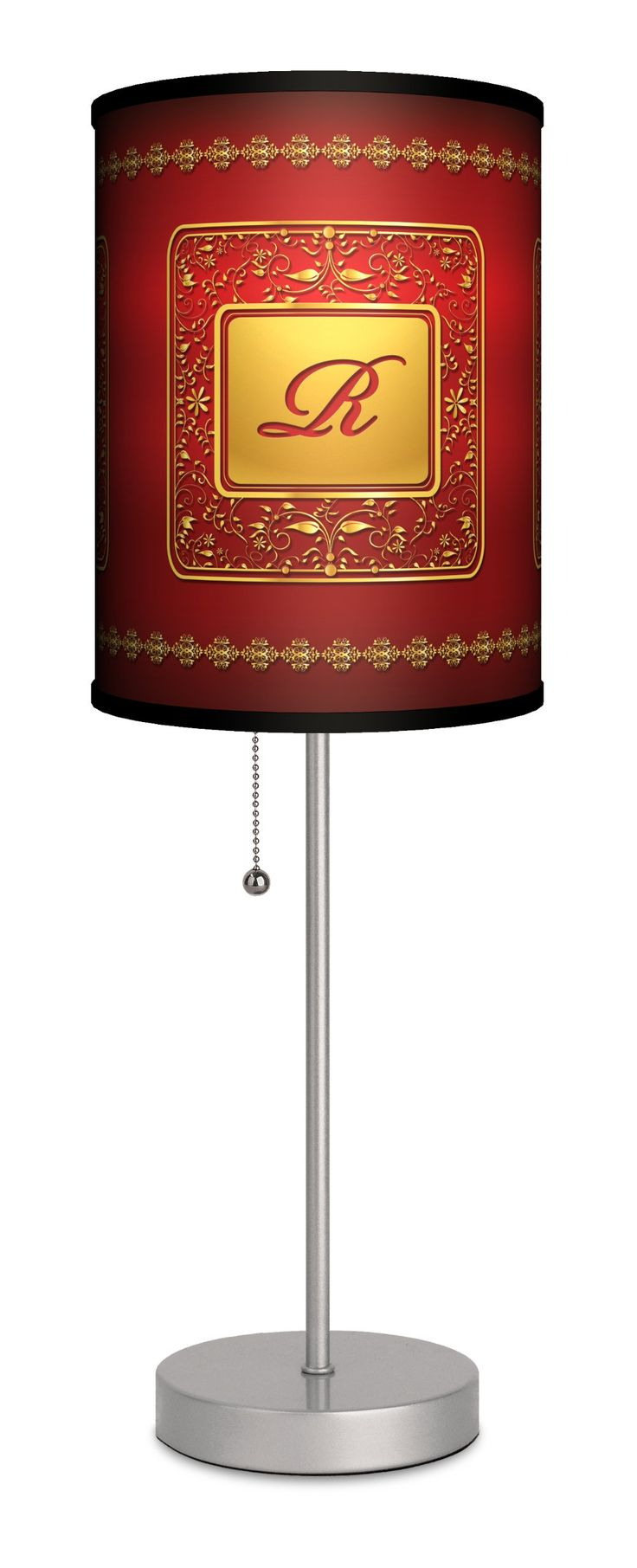 Monograms - Golden with Red Letter R Sport Silver Lamp. All shades printed and made in USA. State of the art translucent shade material with non-fade inks. Ultra-durable, powder-coated silver finish base with pull-chain. Stylish gift box with carrying handle. Suggested 13-watt CFL bulb.