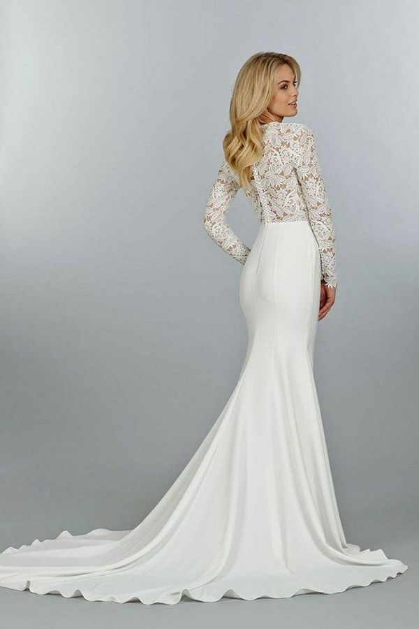 sexy mermaid wedding dresses with long lace sleeves