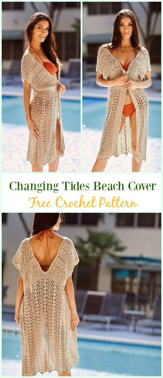 Crochet Changing Tides Beach Cover Free Pattern Crochet Beach Cover Up Free Patterns Crochet Beach Dress Crochet Swimsuits Crochet Kimono