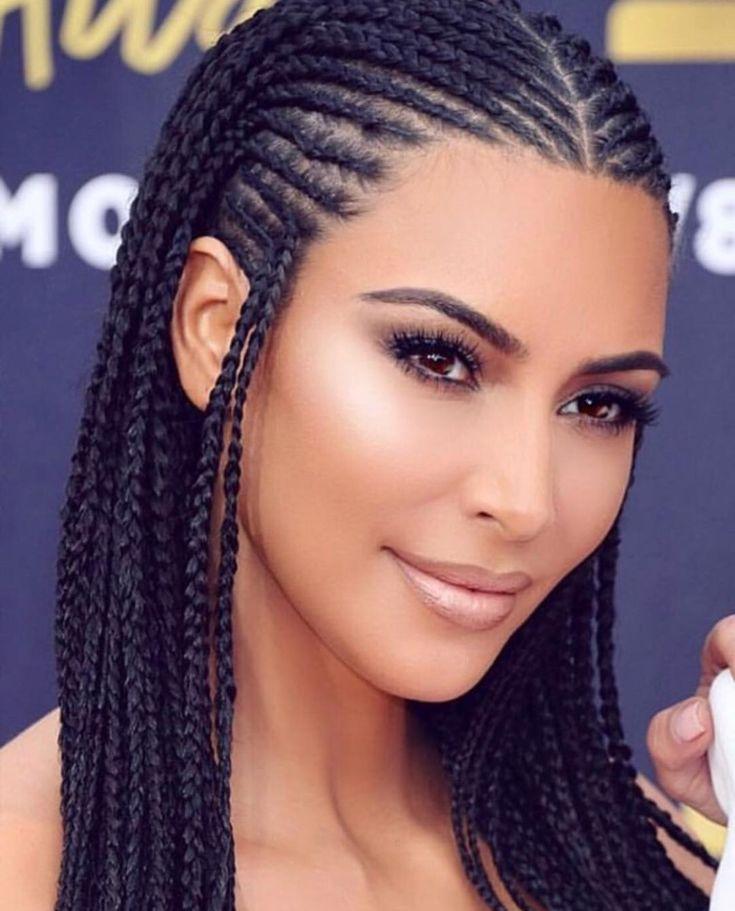 Kim Kardashian Wedding Hairstyles: Kim Kardashian Rocks African Braids To The MTV Movie And
