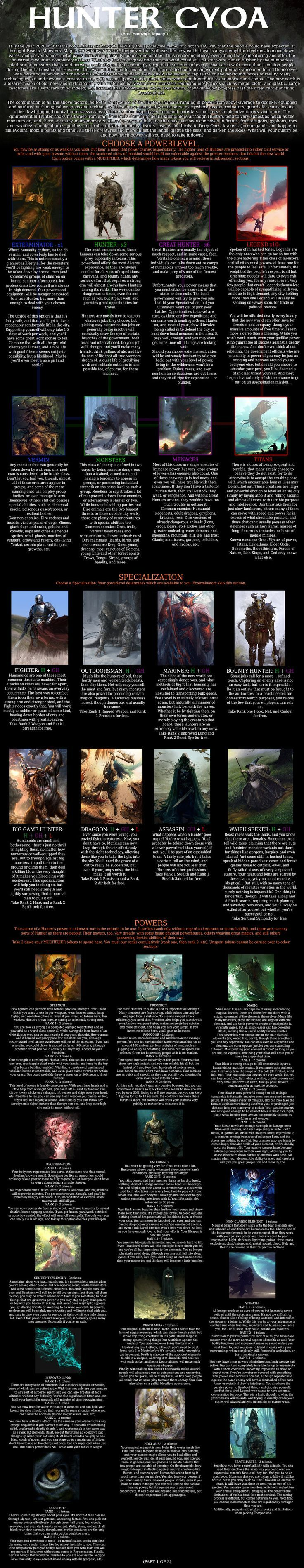 Hunters Legacy CYOA