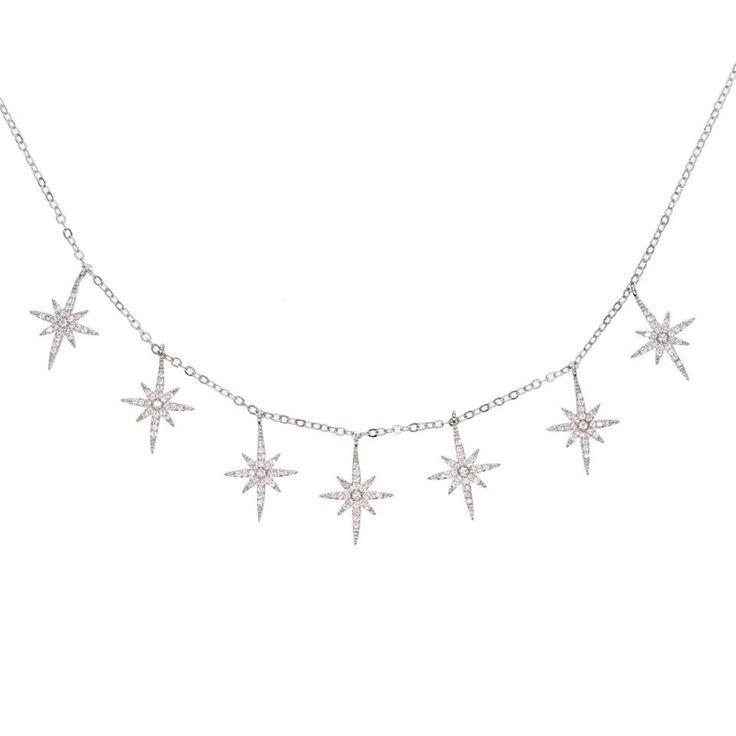 Diamond Dangling Choker with cubic zirconia Stars charms #chokers