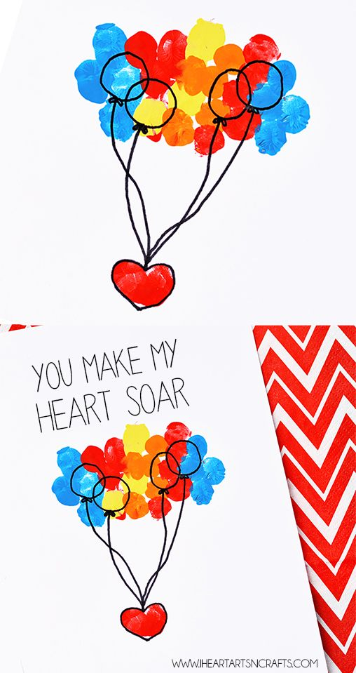 """You Make My Heart Soar"" Fingerprint Card - An easy craft for Valentine's Day or Mother's Day!"