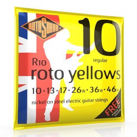Cordes de Guitare Electrique RotoSound Yellow. La gamme Rotosound Roto est excellente pour le débutant, son petit prix en fait un jeu de choix, d'autant que la qualité est au rendez vous. Les cordes ne s'oxydent pas rapidement, elles sont souples et agréables à jouer.
