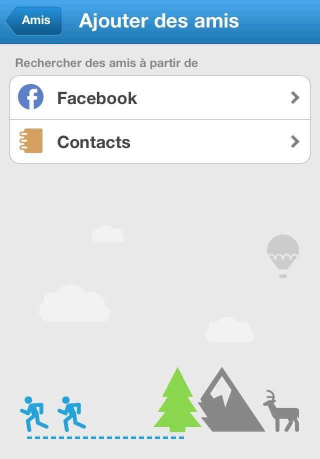 On invite en un clic - via Facebook ou mailing - ses amis, également propriétaires de l'application. Ensuite, on développe son propre réseau et partage ses performances avec ses amis Runkeepers. On se positionne dans un classement fait par l'application au sein de ce réseau et on défie ainsi nos amis.