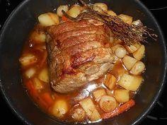 La meilleure recette de Roti de porc en cocotte! L'essayer, c'est l'adopter! 5.0/5 (17 votes), 29 Commentaires. Ingrédients: Roti de porc dans l échine de 950gr environ,une carotte,25 petits oignons grelots,4 pommes de terre,thym,une feuille de laurier,une gosse d ail,10cl de fnd de veau,10cl de vin blanc sec,2 cuielléres à soupe de graisse de canard,sel,poivre