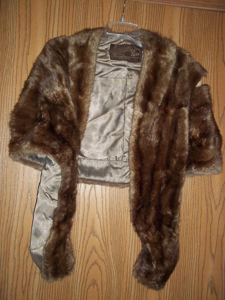 Vintage Women's Mink Fur Stole Three Rivers Fur Michigan