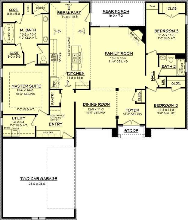 Floor plan-chop off br 2 & 3...master moes to other side-dining b/c br/office